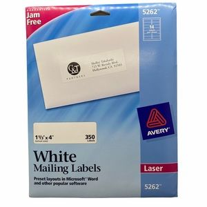 Avery White Laser Mailing Labels 5262